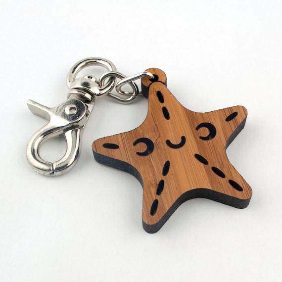 Wood Starfish Purse & Bag Charm: Bamboo Ocean Key Chain Fob