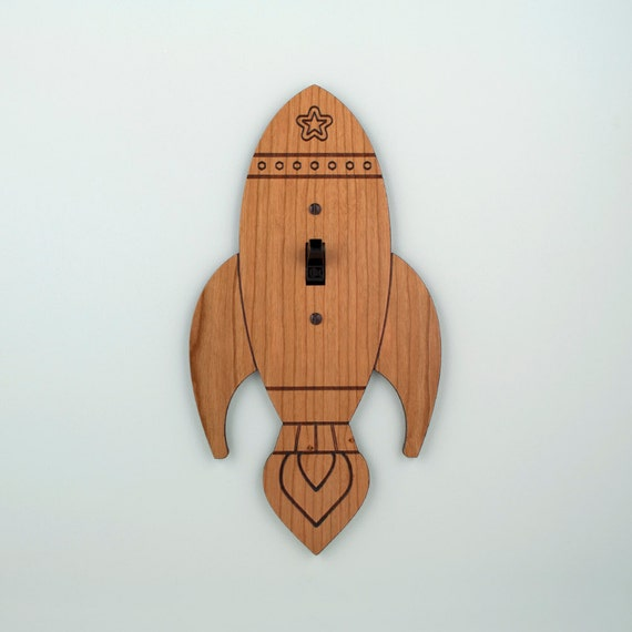 Wood Rocket Switchplate Kids Nursery Wall Light Switch Plate Cover