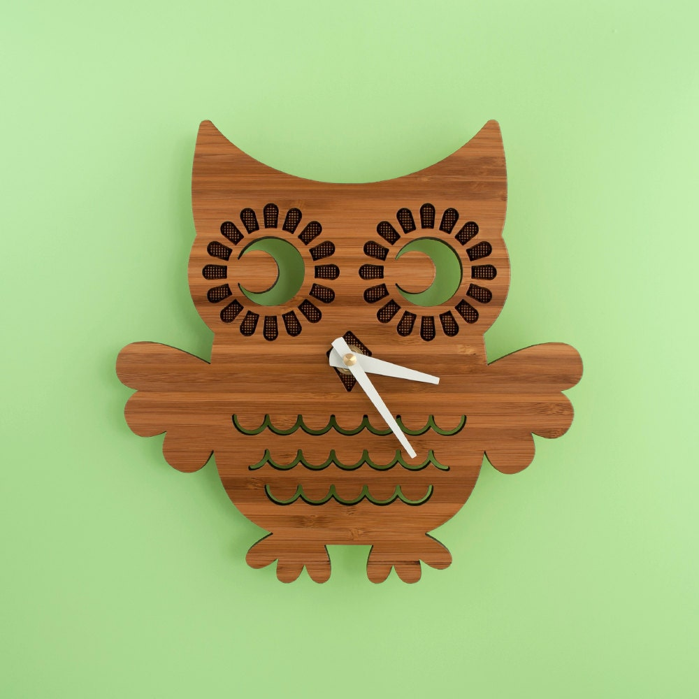 Bamboo Owl Wall Clock Woodland Forest Animal Nature Nursery