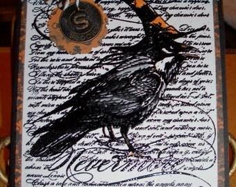 Halloween Card - The Raven - Nevermore - Edgar Allen Poe Poem - Spooky Charm -