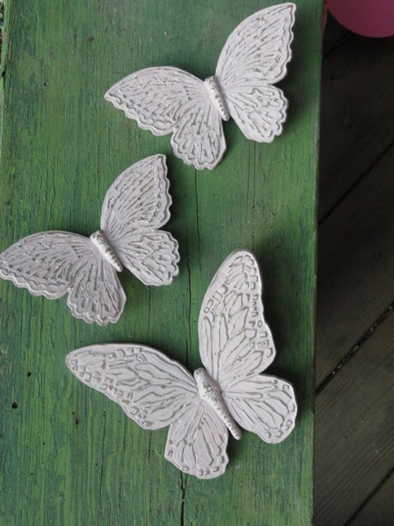 Butterfly wall art, setof three pink hand painted Cottage Vintage Chic