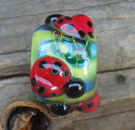 Destash... Handmade lampwork glass bead, Big Hole bead. Lady bird bead for bracelet Silver glass SRA  Made in Australia