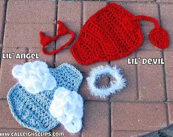 Instant Download Crochet Pattern - No 74.1 and 74.2 - Lil' Angel and Lil' Devil Bundle -Cuddle Critter Cape Sets