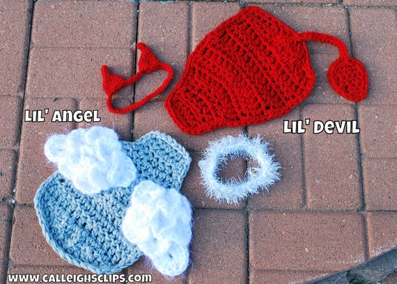Instant Download Crochet Pattern - No 74.1 and 74.2 - Lil' Angel and Lil' Devil Bundle -Cuddle Critter Cape Sets