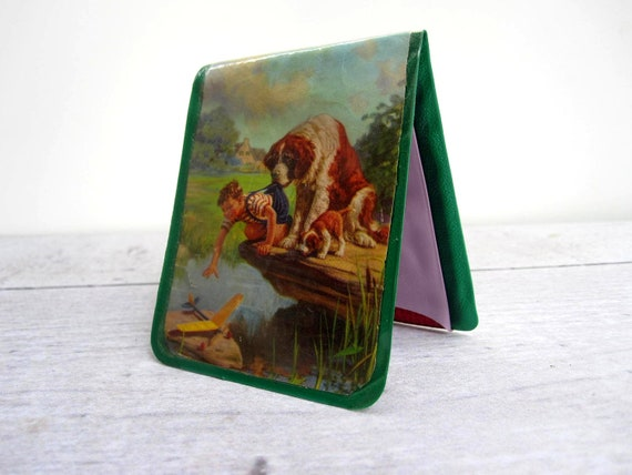 Mid Century Childs Wallet - Billfold with Childrens Illustrations - St. Bernard Dogs and Puppies