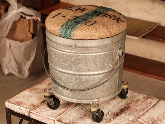 Vintage Mop Bucket Adapted to Stool w/Burlap Lid