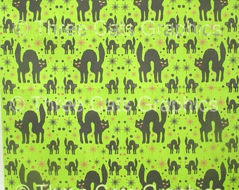 "Retro Style Black Cats with Starbursts on a Lime Background 8"" x 8"" Fabric Swatch"