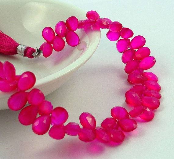 Stunning hot pink faceted chalcedony pear briolettes 9mm set of 8