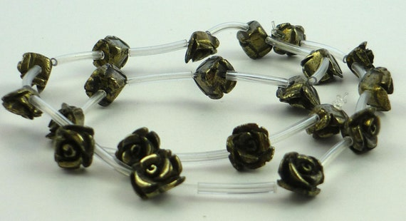 Adorable pyrite carved rose beads 9mm one pair