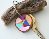 wood keychain with stainless steel cable wire Plus custom initial, tones of purple, mint, baby pink and blue geometric triangle keyring