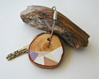 Pine  wood keychain with stainless steel cable wire, tones of  pink, brown, purple and ivory geometric triangle shapes keyring