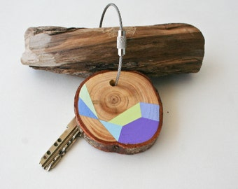 Pine wood keychain with stainless steel cable wire, tones of baby green, blue, turquoise and mint geometric triangle keyring