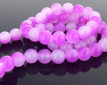 "NEWEST charm round beads purple czech glass candy jade Gemstone Beads Strand 8mm 16"" One strand"