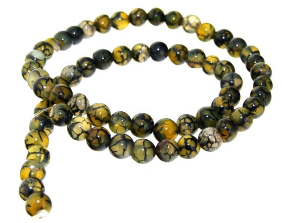 Charm Coffee Dragon Agate Round 6mm Gemstone Beads One strand