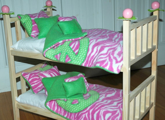 Doll Bed - Doll Bunk Bed Pink Peace - Fits American Girl Doll and 18 inch dolls