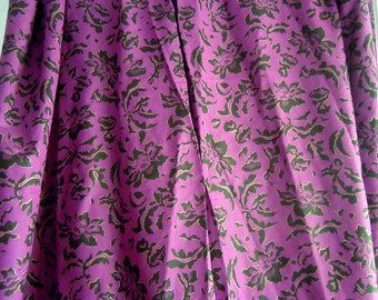 Purple and Black Floral Vintage Fabric- 1 Yard