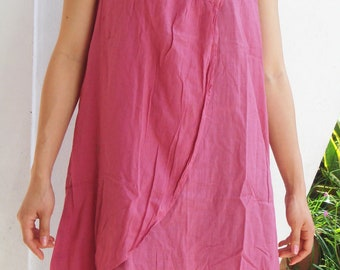 D12, Lotus Flower Pink Cotton Dress, pink dress