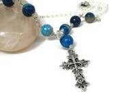 Cross Necklace with Turquoise Banded Agate Gemstones Wire Wrapped Religious Jewellery Sea Colours
