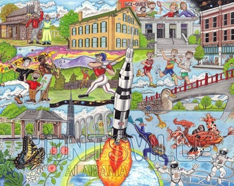 The Who, What and Where of Huntsville, Alabama postcards pack of 10 signed by artist