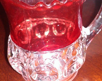 Collectible King's Crown RUBY Flash Thumbprint Rare Star Creamer Pitcher