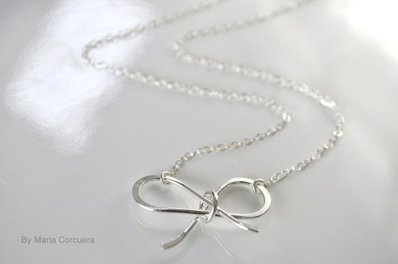 ON SALE Sterling Silver Bow Necklace