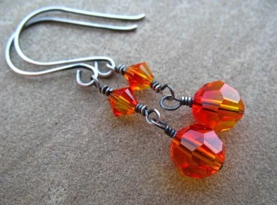 Orange Earrings Sterling Silver Jewelry Swarovski Crystal Dangle Earrings