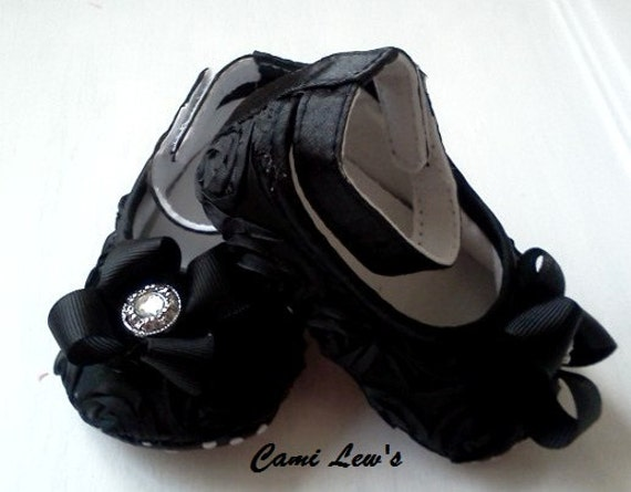 Fancy black baby shoes, Crib shoes, baby shoes