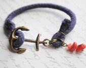 Anchor Bracelet- Summer Bracelet-- Navy cord and coral shards