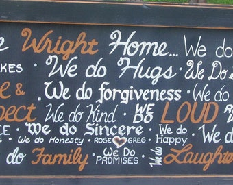 In Our Home Family Rules Framed SIGN Subway Custom Distressed primitive Hand-painted Wooden 16x40 WHAGN Made to Order