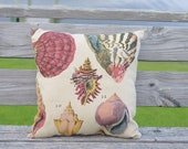 "Beach Decor 18"" Linen Seashell Throw Pillow"