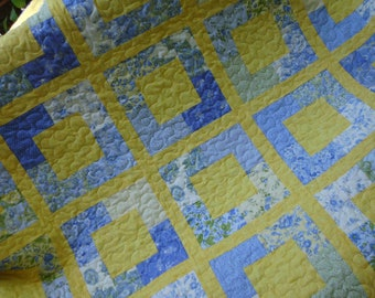 Bright yellow and blue blocks quilt handmade quilt squares quilt modern quilt