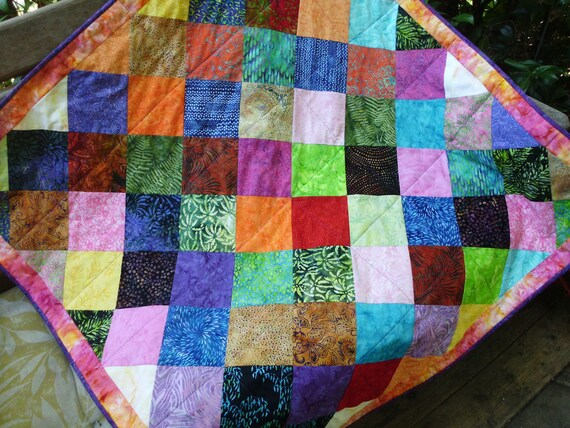 Bright batik squares quilt lap quilt throw quilt quilted wall hanging