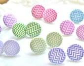 Chevron Stripe Pastel Collection Pink Purple Green Aqua Blue Round Post Earrings - Wedding, Bridal, Beach, Retro