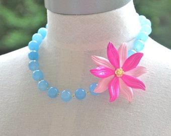 Vintage Bright Pink  Pale Pink Enamel Flower Pendant Periwinkle Blue Glass Bead Statement Necklace - Wedding, Bridal ,Beach