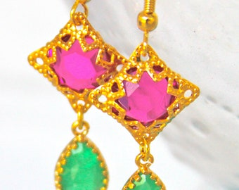 Peridot Green and Fuchsia Pink Rhinestone Brass Gold Tear Drop Bridal Drop Dangle Earrings -Bridal, Beach