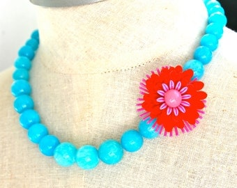 Aqua Blue and Red Glass Bead Necklace  Aqua Blue Jade Glass Beads Vintage Red Hot Pink Brooch Enamel Flower Necklace - Valentines Day