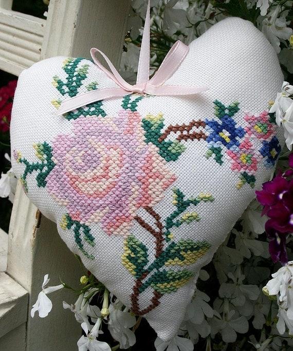 Cottage Duo Vintage Needlepoint - Cross Stitch Hanging Hearts Roses Sachet