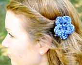Crochet Flower Clip - Hair Accessory and/or Clip-On Brooch