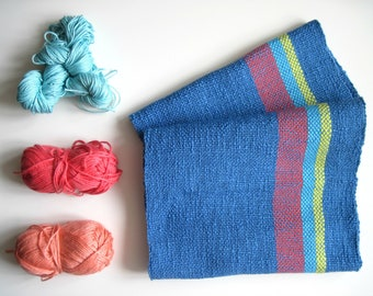 Neon Handwoven Scarf Cotton Bright Accessory
