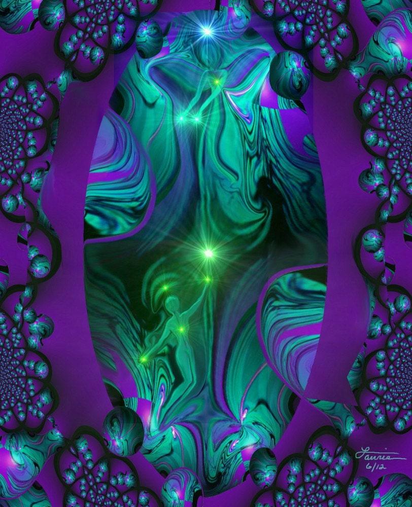 Purple Teal Wall Decor Spiritual Self Improvement Reiki