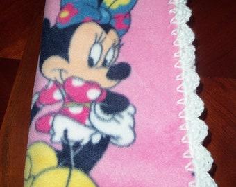 Baby Girl Blanket Minnie Fleece with White Crochet Edge