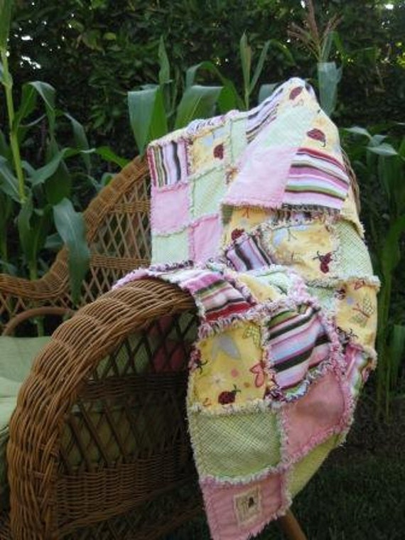 Whimsical Lady Bug Baby Girl Rag Quilt  - An Adoption Fundraiser