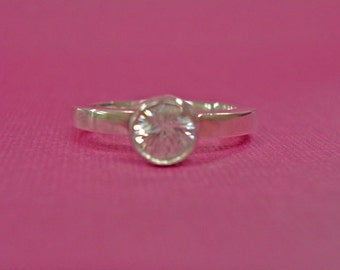 White Zircon Ring - White Zircon Sterling Silver Ring - Size 5 1/2 Handcrafted Zircon Ring