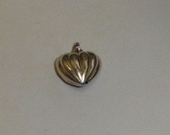 Vintage Sterling Silver Pumpkin Style Puffy Heart Bracelet Charm or Necklace Pendant