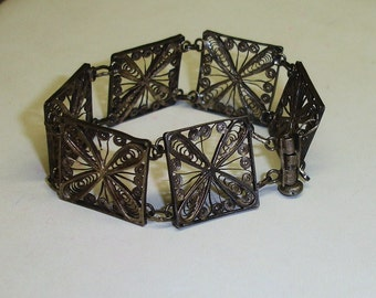 """Antique Sterling Silver Hand Made Middle East Filigree Links Bracelet with Pin Latch Small Size 6-3/4"""""""