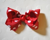 Minnie Mouse Inspired Red and White Polka Dots Hair Bow