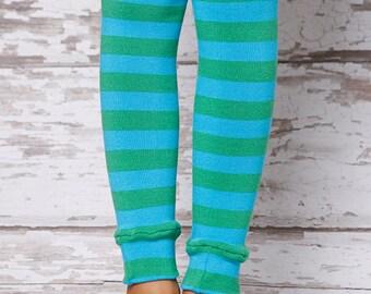 Leg Warmers - Teal and Green Stripe