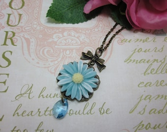 Pastel Blue Daisy with teardrop swarovski crystal Necklace. Gift for her. Birthday, Christmas, Bridesmaid, Maid of Honor. Wedding.