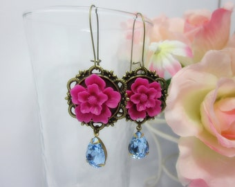Fuchsia Sakura with sapphire vintage glass jewel Earrings. Gift for her.  Anniversary, Birthday, Maid of Honor, Bridesmaid.