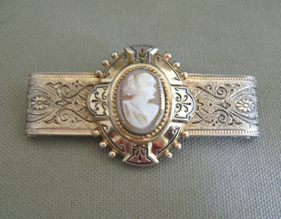 Carved Shell Cameo Brooch Bar Pin Vintage